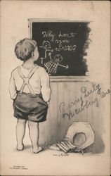 Kid staring at a black board Postcard