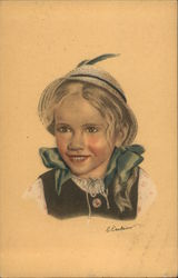 A Young Girl in a Hat Postcard
