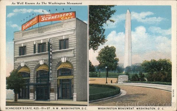 Schneider's Cafe 425 11th St., Washington Monument - As well known as the Washington Monument District of Columbia