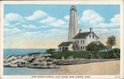 New London Harbor Light House Postcard