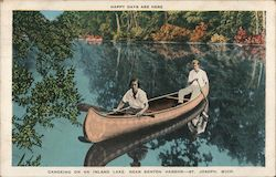 Canoeing on an inland lake, near Benton Harbor - happy days are here Postcard