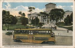 Double Decker in Front of State Capitol Postcard