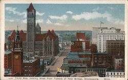 Third Ave. looking West from towers of New Bridge Postcard
