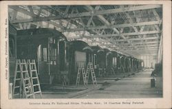Interior Santa Fe Railroad Shops, Topeka Kan, 16 Coaches Being Painted Postcard