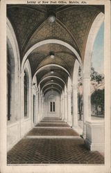 Lobby of new Post Office Postcard