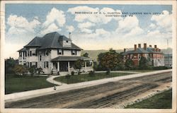 Residence of C.L. Huston and Lukens Main Office Postcard