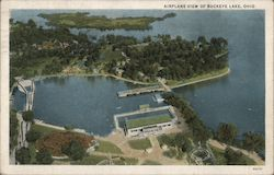 Airplane View of Buckeye Lake, Ohio Postcard