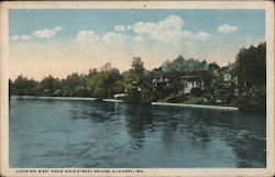 Looking West From Main Street Bridge, Elkhart, Ind. Postcard