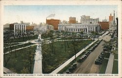 Bird's eye view of University Park, showing U.S. Post Office and business section Postcard