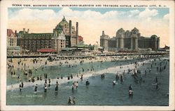Ocean View, showing Dennis, Marlboro-Blenheim and Traymore Hotels Postcard