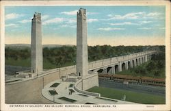 Entrance to Soldiers' and Sailors' Memorial Bridge Postcard