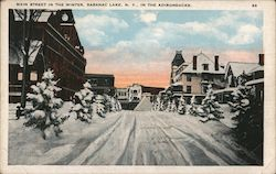 Main Street in the winter, in the Adrirondacks Postcard