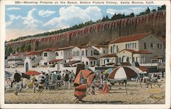 Shooting Pictures on the Beach - Motion Picture Colony Postcard