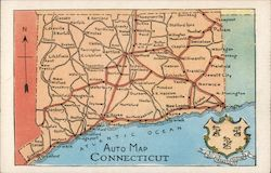 Auto Map of Connecticut Postcard