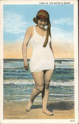 Come In, The Water is Warm Woman on Beach Postcard