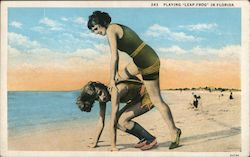 "Playing ""leap frog"" in Florida Postcard"