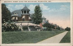 Beautiful homes along the boulevard Postcard
