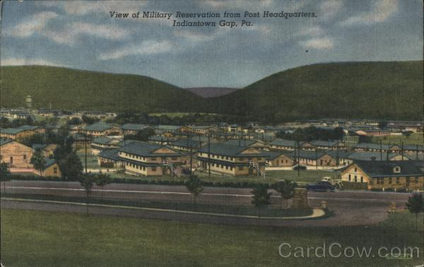 View of military reservation from post headquarters Indiantown Gap Pennsylvania