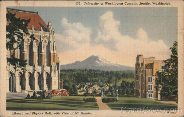 University of Washington Campus - Library and Physics Hall with vista of Mt. Rainier Seattle