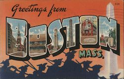 Greetings from Boston Mass. Postcard