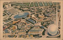 General view of Constitution Mall, Government Area and Theme Center - New York World's Fair Postcard