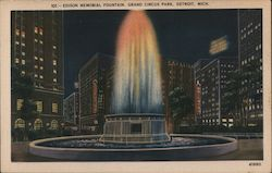 Edison Memorial Fountain - Grand Circus Park Postcard
