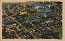 Air view of University of Minnesota Postcard