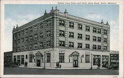 Edwin Long Hotel and Rolla State Bank Postcard