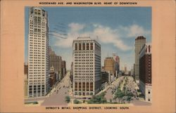 Woodward Ave. and Washington Blvd. Heart of Downtown, Detroit's Retail Shopping District, Looking South Postcard