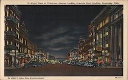 Night view of Columbus Avenue looking towards boat landing - In Ohio's Lake Erie Vacationland Postcard