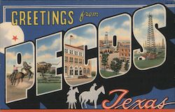 Greetings from Pecos Texas Postcard