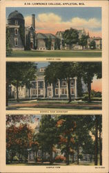 Lawrence College - Campus view, Russell Sage Dormitory Postcard