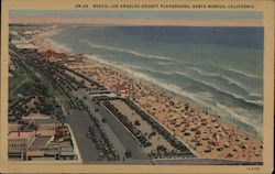 Beach, Los Angeles County Playground Postcard