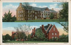 Isaac McCoy Hall and Campus Scene, Bacone Indian College Postcard