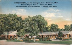 Detroit Motel - 25125 Michigan Ave. - Open all year - Recommended by Duncan Hines - Lodging for a night Postcard