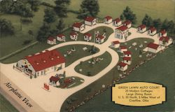 Green Lawn Auto Court - 20 modern cottages - Large dining room - U.S. 30 north, 5 miles west of Crestline, Ohio Postcard