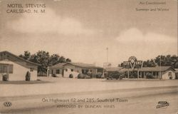 Motel Stevens - Air conditioned - Summer and winter - On Highways 62 and 285, south of town - Approved by Duncan Hines Postcard