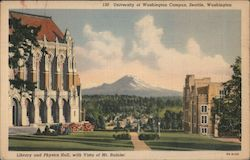 University of Washington Campus - Library and Physics Hall with vista of Mt. Rainier