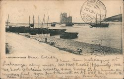 Fishing Boats With Castle in Distance Postcard