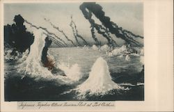 Japanese Torpedoes Attack Russian Fleet at Port Arthur Postcard