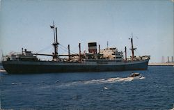 Freighter anchored in Long Beach Harbor Postcard