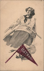 Hayward banner. Young girl rowing boat. Postcard