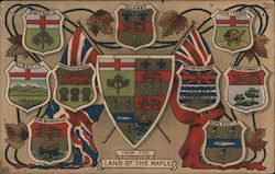 Shields and flags of Provinces of Canada, From the land of the Maple Postcard