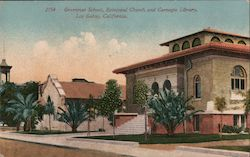 Grammar School, Episcopal Church and Carnegie Library Postcard