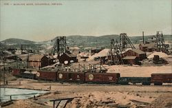 Mohawk Mine, train and cars Postcard