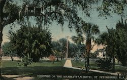 Grounds of the Manhattan Hotel Postcard