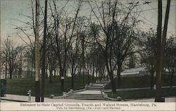 Entrance to State Capitol Grounds, Fourth and Walnut Streets Postcard
