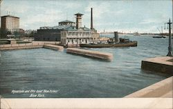 "Aquarium and Fire-boat ""New Yorker"" Postcard"