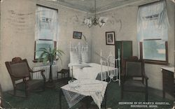 Bedroom in St. Mary's Hospital Postcard