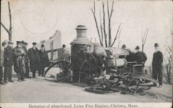 Remains of Abandoned Lynn Fire Engine Postcard